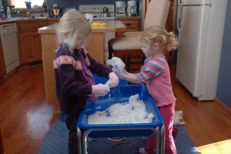 Snow in Sensory Tub