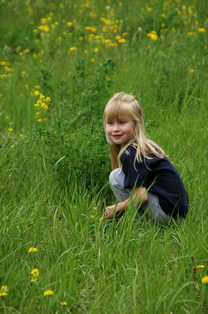 Linnea follows butterfly into the meadow.